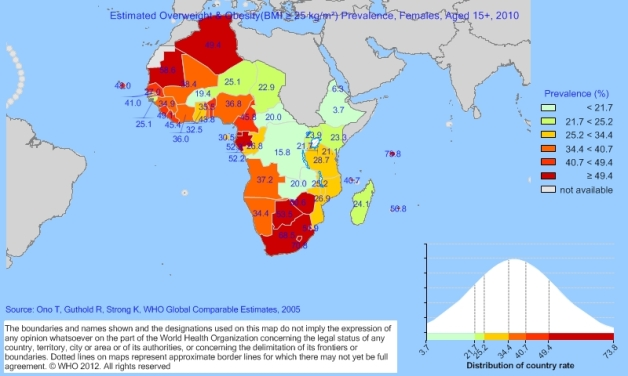 Overweight/Obesity Rates Amongst African Women Aged 15-100 years (Source: World Health Organization)