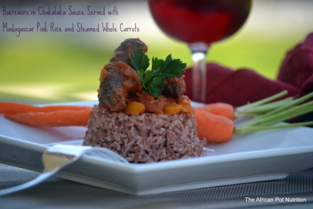 Boerewors in Chakalaka Sauce with Madagascar Pink Rice